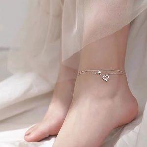 New 925 sterling silver love heart ankle bracelet